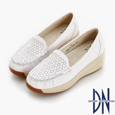 DN 歐美簡約 素面全真皮厚底彈力鞋-白