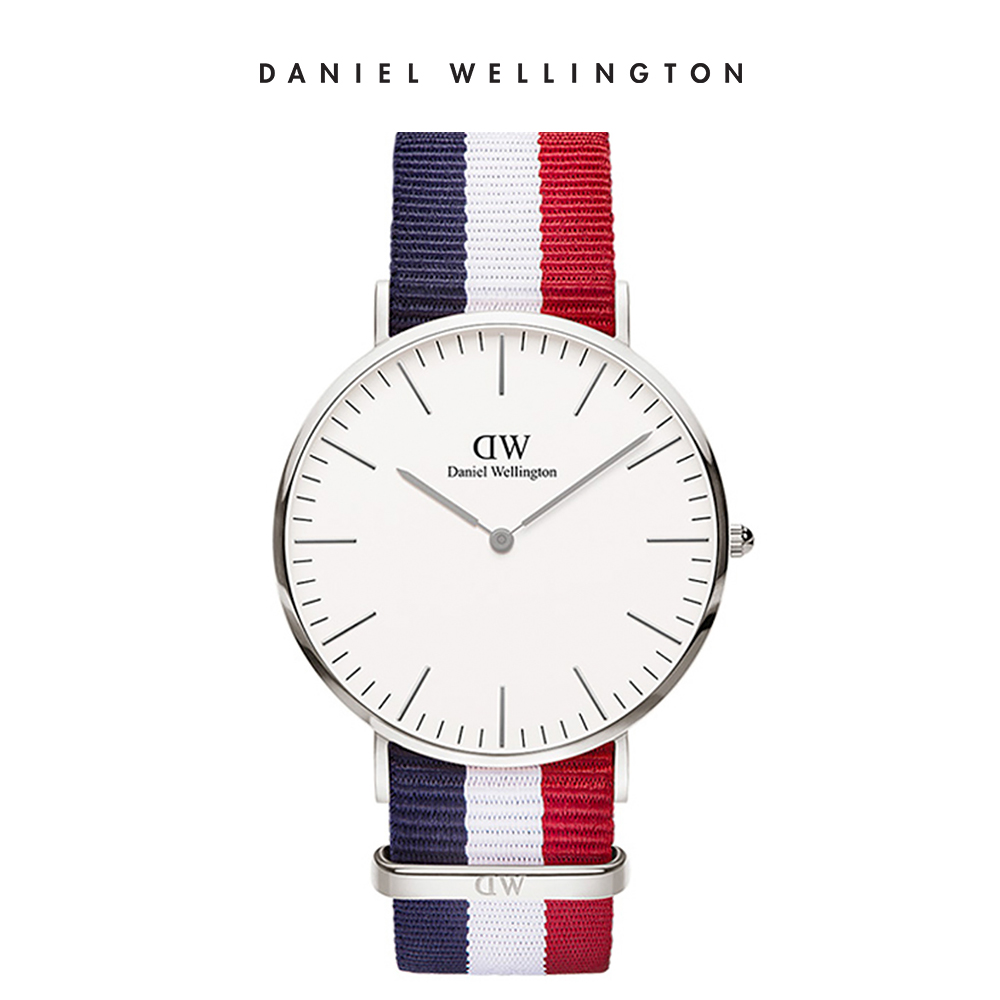 【Daniel Wellington】官方直營 Classic Cambridge 40mm藍白紅織紋錶 DW手錶