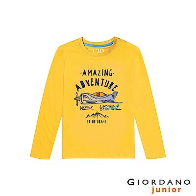 GIORDANO 童裝冒險旅程印花長袖T恤-12 一支黃