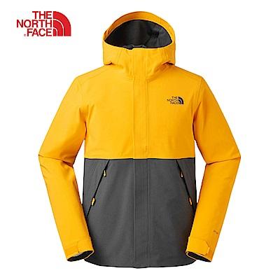 The North Face北面男款橙灰撞色防水透氣衝鋒衣|3V95K7N