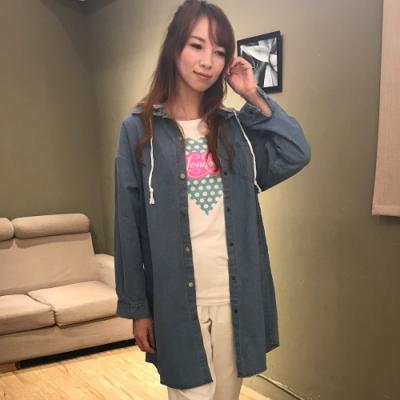 【白鵝buyer 】韓版 可拆帽牛仔長版外套_淺藍(B5022)