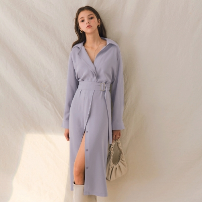AIR SPACE LADY 氣質開衩襯衫長洋裝(灰藍)