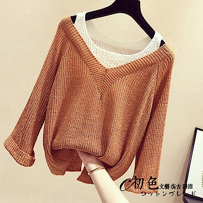 假兩件針織毛衣-共3色(F可選)    初色
