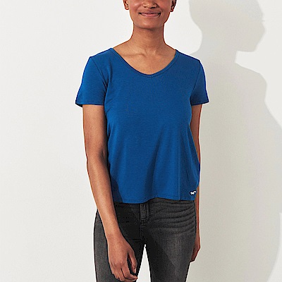 海鷗 Hollister HCO 經典刺繡海鷗V領素面短袖T恤(女)-藍色