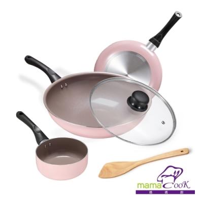 義大利 Mama Cook綻粉陶瓷不沾鍋具4件組(期間限定加贈奶鍋)