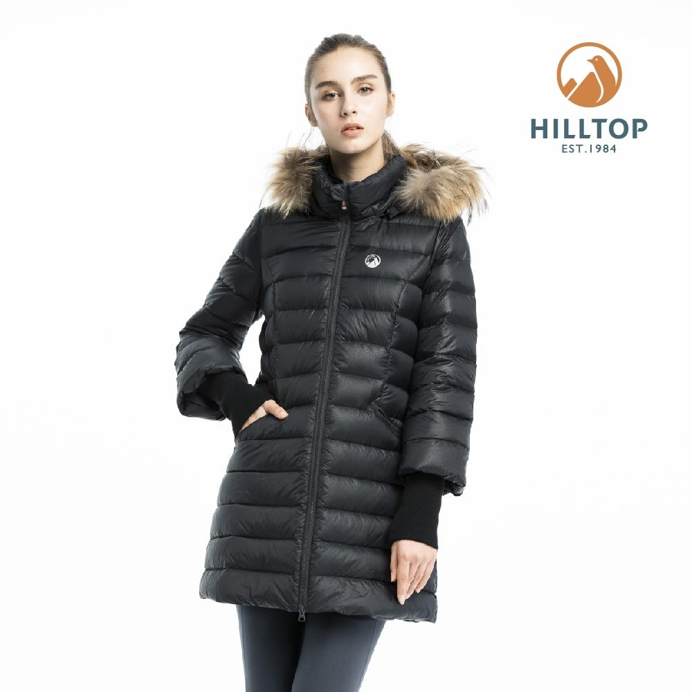 【hilltop山頂鳥】女款超潑水保暖蓄熱羽絨長大衣F21F83布卡黑