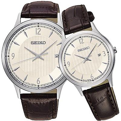 SEIKO精工 CS系列城市戀人大三針對錶(SGEH83P1+SXDG95P1)-銀x咖啡