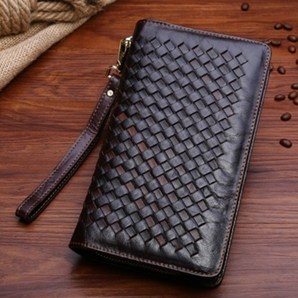 米蘭精品 手拿包真皮包包-復古編織紋雙拉鍊大容量男皮件情人節生日禮物73lu32