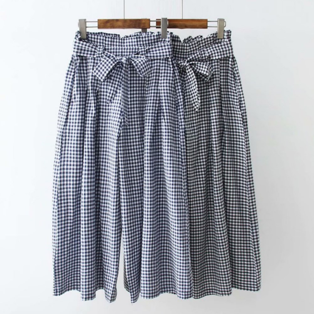 La Belleza荷葉壓折鬆緊腰圍附腰帶格子闊腿褲寬褲