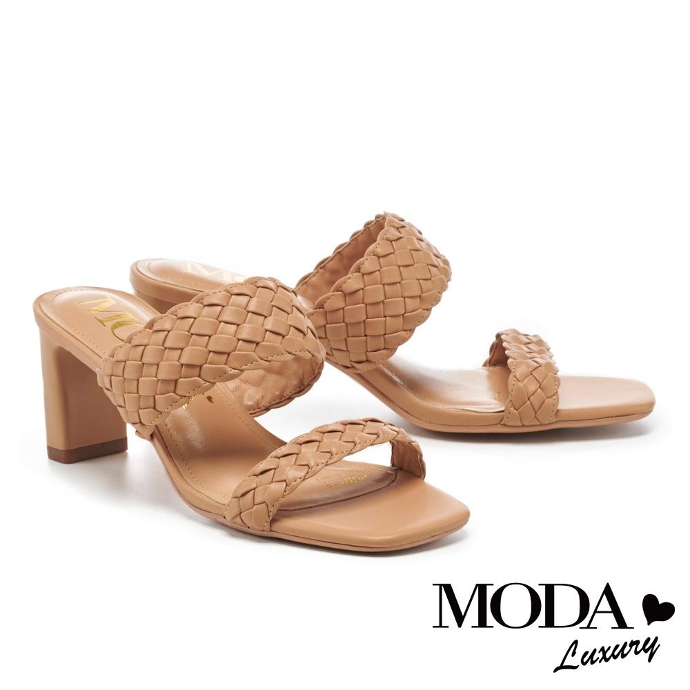 拖鞋 MODA Luxury 簡約質感純色編織高跟拖鞋-棕