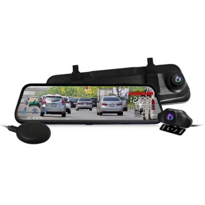 CARSCAM行車王 GS9400 GPS測速全螢幕觸控雙1080P後視鏡行車記錄器-單機