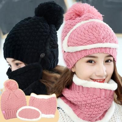 EZlife日韓風全方位防風保暖帽三件套(贈烏木平安掛飾)