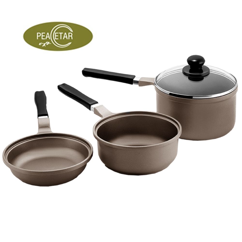 【必仕達 Peacetar 】輕食二代澳洲原礦三入調理鍋16cm(平底鍋、湯鍋、料理鍋)