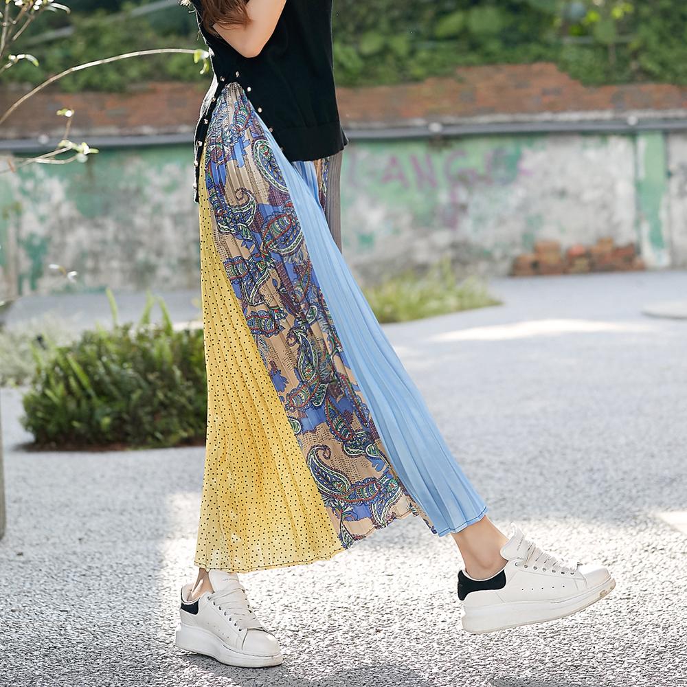IREAL 異國風拼接花紋鬆緊腰百褶裙 @ Y!購物