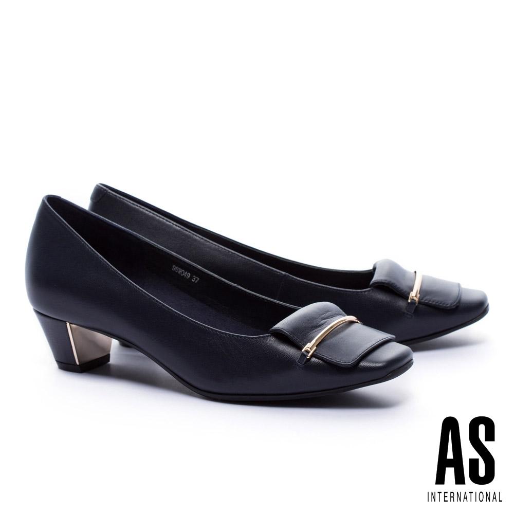 低跟鞋 AS 高雅純熟反折馬銜釦羊皮方頭低跟鞋-藍