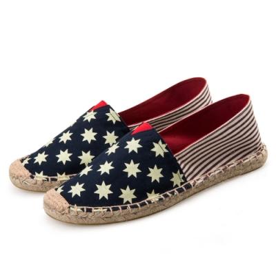 韓國KW美鞋館 (現貨+預購)-藍色小星粗紅條草編休閒帆布鞋-藍