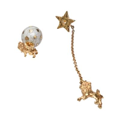DIOR 12星座獅子不對襯星星圓球造型穿式耳環(金)
