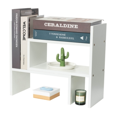 樂嫚妮 多用途收納置物書架/桌面/伸縮-象牙白色-寬32.4~61.2X深17X高35cm