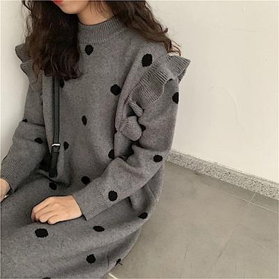 DABI 韓國風時尚波點毛線長袖洋裝