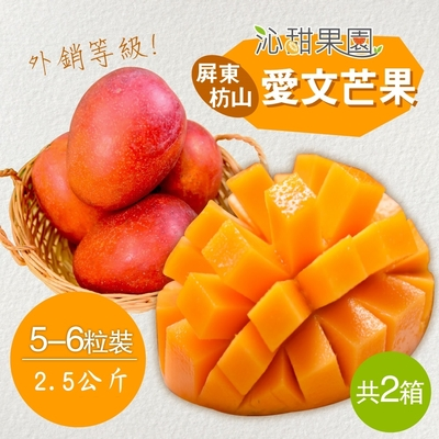 沁甜果園SSN‧外銷等級-屏東枋山愛文芒果(5-6粒裝/2.5公斤)(共二箱)