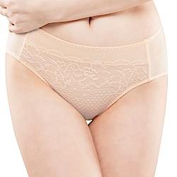 思薇爾 花霓系列M-XXL蕾絲中腰三角內褲(煉乳黃)