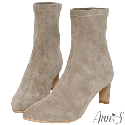 Ann'S慾望巴黎-防水絨布貼腿直跟襪靴-杏