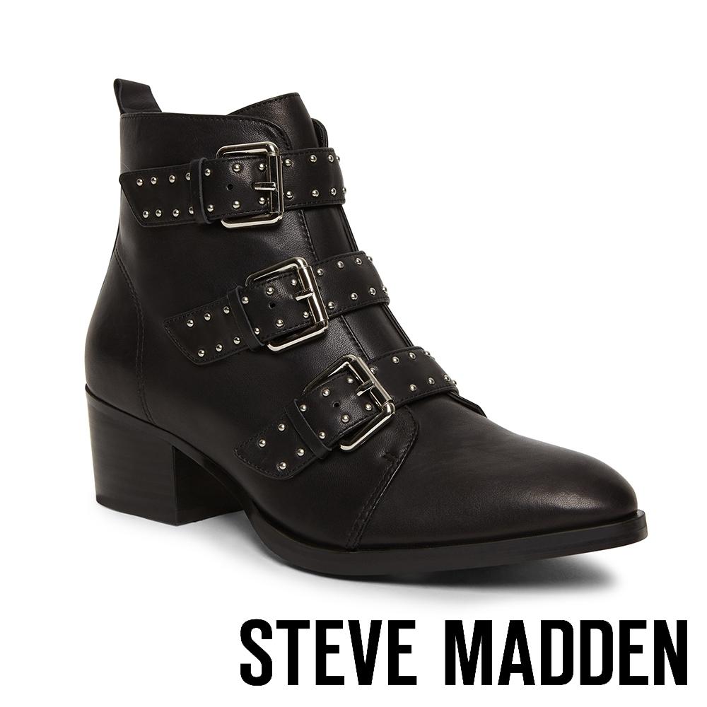 STEVE MADDEN-ELEXIS 中性前衛風金屬飾扣皮帶尖頭騎士靴-黑色