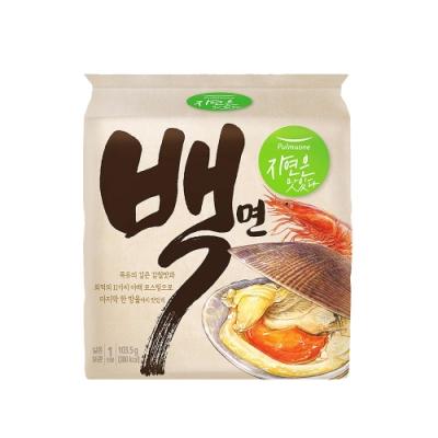 韓味不二【白】圃美多 Pulmuone 蛤蜊牛骨湯麵(101.5g*4包/袋) 偶然成為社長 同款拉麵