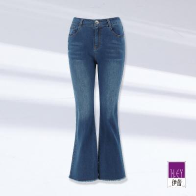 ILEY伊蕾 純色抽鬚彈性微喇叭牛仔褲(藍)1211028629