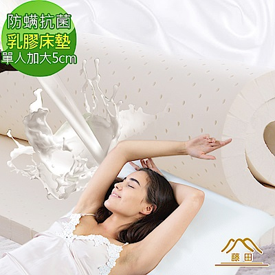日本藤田 瑞士防蹣抗菌親膚雲柔頂級天然乳膠床墊-5cm-單大