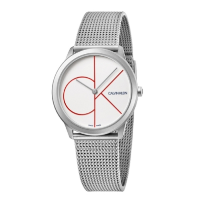 CALVIN KLEIN minimal 系列簡約腕錶-白色/35mm