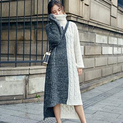 麻花紋高領雙色拼接針織洋裝-灰色-Kugi-Gir