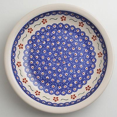 【波蘭陶 Zaklady】 紅點藍花系列 圓形深餐盤 22cm 波蘭手工製