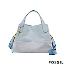 FOSSIL Maya 柔軟真皮拼接手提/側背兩用包-粉藍色