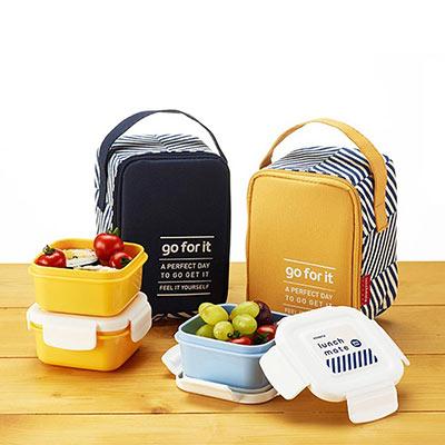 韓國KOMAX 迷你餐盒三件組(附提袋)-共2色