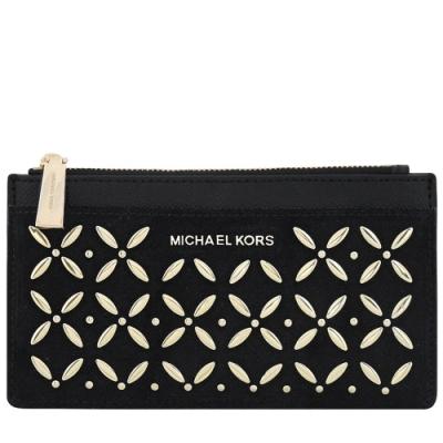 MICHAEL KORS Money Pieces 麂皮花朵鉚釘拉鍊十二卡長夾(黑色)