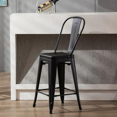 E-home Valen維倫工業風金屬高背吧檯椅 座高66cm 黑色