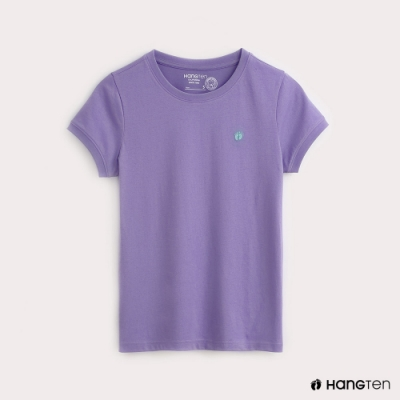 Hang Ten-有機棉-女裝全棉小LOGO素面圓領T-紫