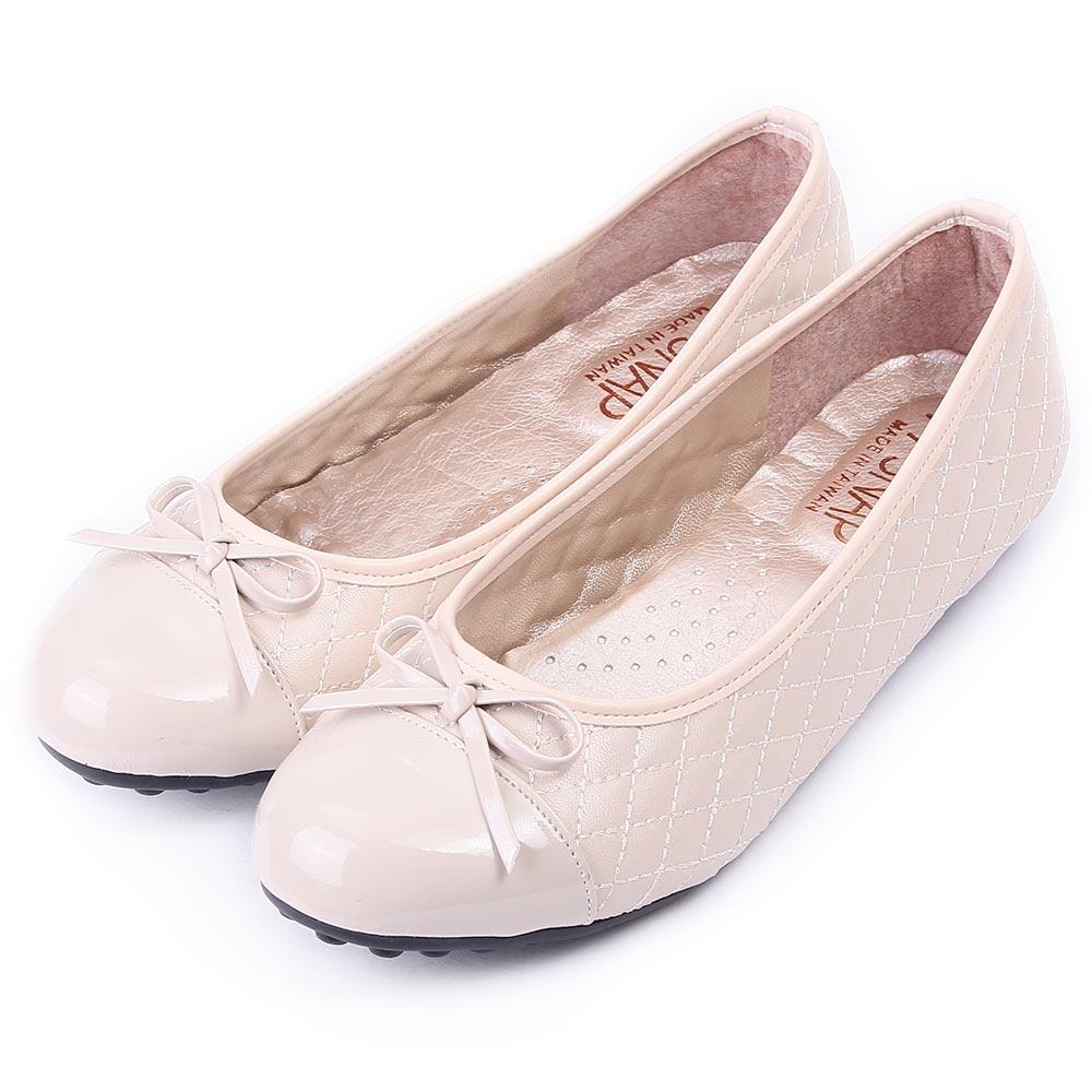 TTSNAP娃娃鞋-MIT小香風菱格紋平底鞋 米