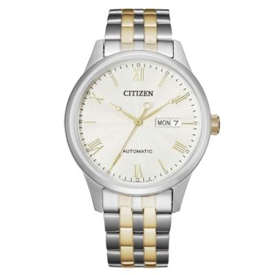 CITIZEN Mechanical時尚機械日期腕錶-銀X金(NH7506-81A)40mm