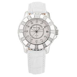 Manlike 曼莉萊克 陶瓷限量機械女錶 白色皮帶