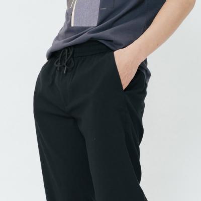 H:CONNECT 韓國品牌 男裝-棉麻抽繩休閒褲-黑