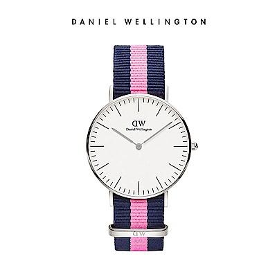 DW手錶 官方旗艦店 36mm銀框 Classic 活潑藍粉織紋錶帶
