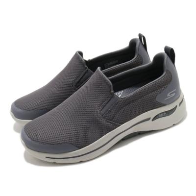 Skechers 休閒鞋 Go Walk Arch Fit 男鞋 專利鞋墊 回彈 避震 穩定 透氣 灰 米 216121CHAR