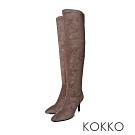 KOKKO - 極瘦尖頭霧面高跟過膝長靴 - 駝