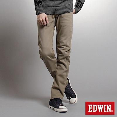 【EDWIN】衝鋒魔力 W-F EF迷彩窄直筒保溫褲-男款(褐色)