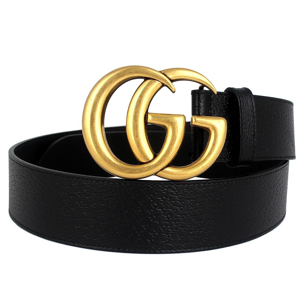 GUCCI 復古雙G扣頭黑色寬版真皮皮帶(90cm) @ Y!購物