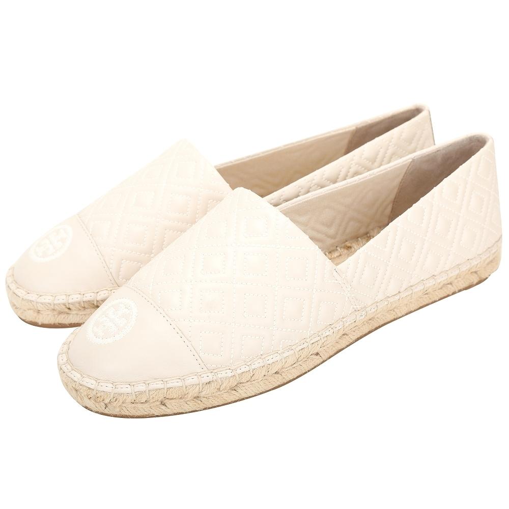 TORY BURCH Quilted Flat 菱格車縫線納帕皮草編鞋(奶油白)