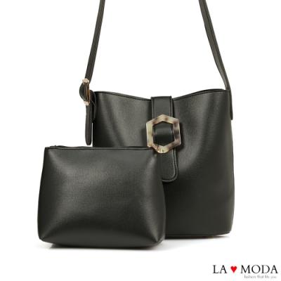 La Moda 時尚質感大釦飾設計大容量肩背斜背子母包(黑)