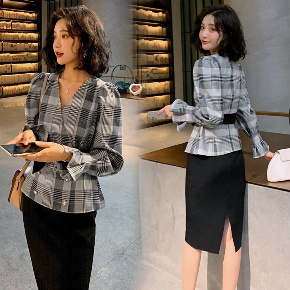 時尚氣質格紋上衣+包臀裙子兩件套M-2XL(共二色)-SZ